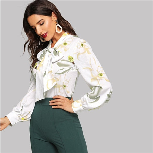 Jamie Bow Blouse in White