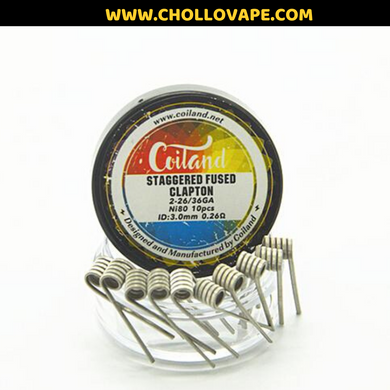Coiland Prebuilt Coil (Pack 10) Staggered Fused Clapton