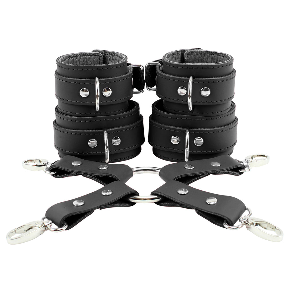 Atlanta Wrist Cuffs and Ankle Cuffs Combo With Hogtie Sturdy Leather Restraints