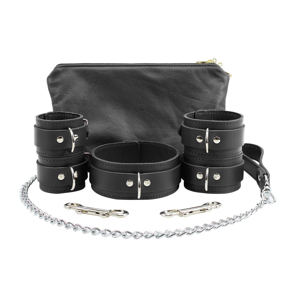 Atlanta Ankle Wrist Cuffs Collar Chain Leash Set Soft Handcrafted Leather