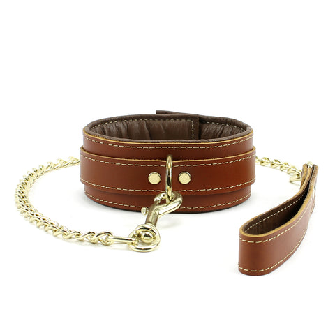 Fox Padded Brown Leather Collar and Leash