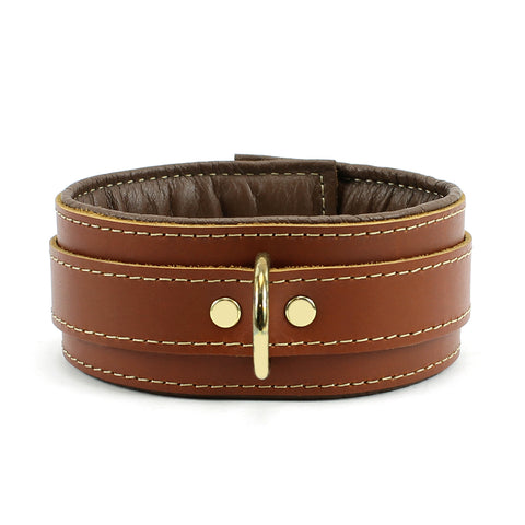 Fox Padded Brown Leather Collar