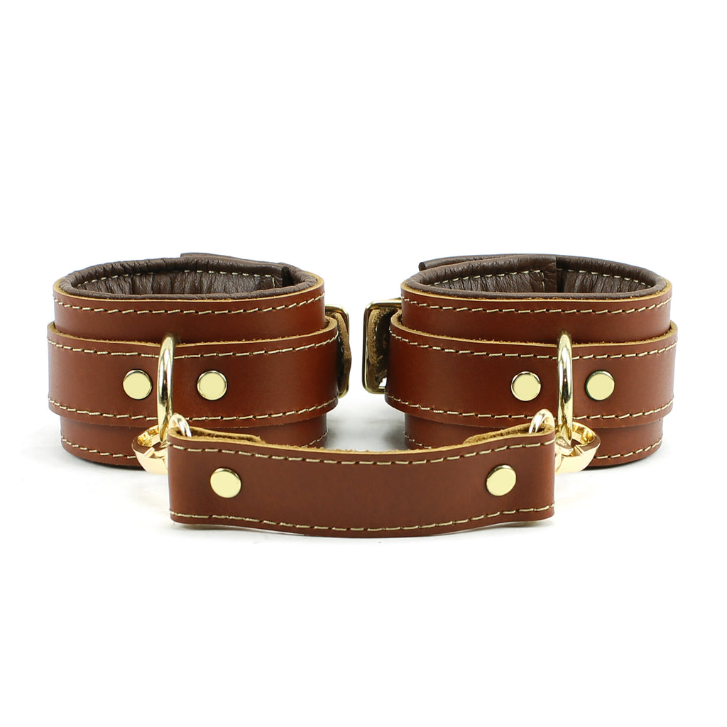Fox Brown Leather Wrist Ankle Restraints