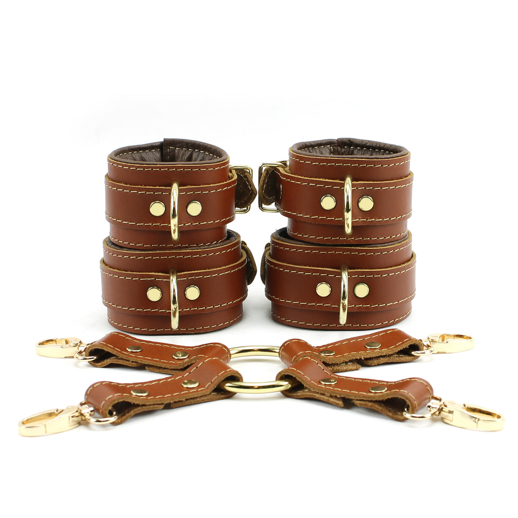 Fox Wrist and Ankle Cuffs Hogtie Kit Natural Lambskin Leather