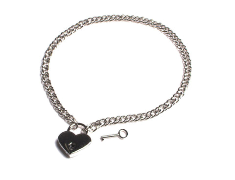 Chain Necklace and Heart Padlock Day Collar