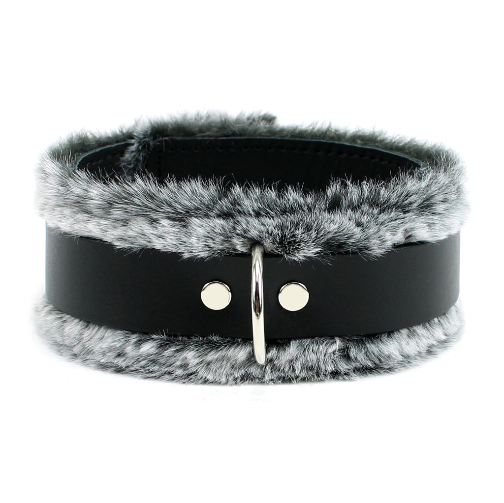 IVO Leather Collar Handcrafted Fine Quality Natural Chic Faux Fur