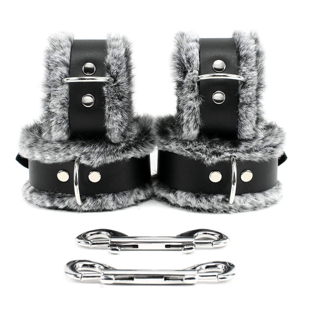 IVO Wrist Cuffs Ankle Cuffs Combo Soft Genuine Leather Faux Fur