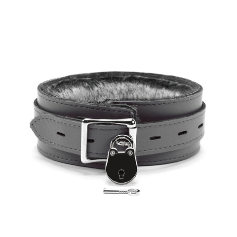 bdsm leather lockable collar