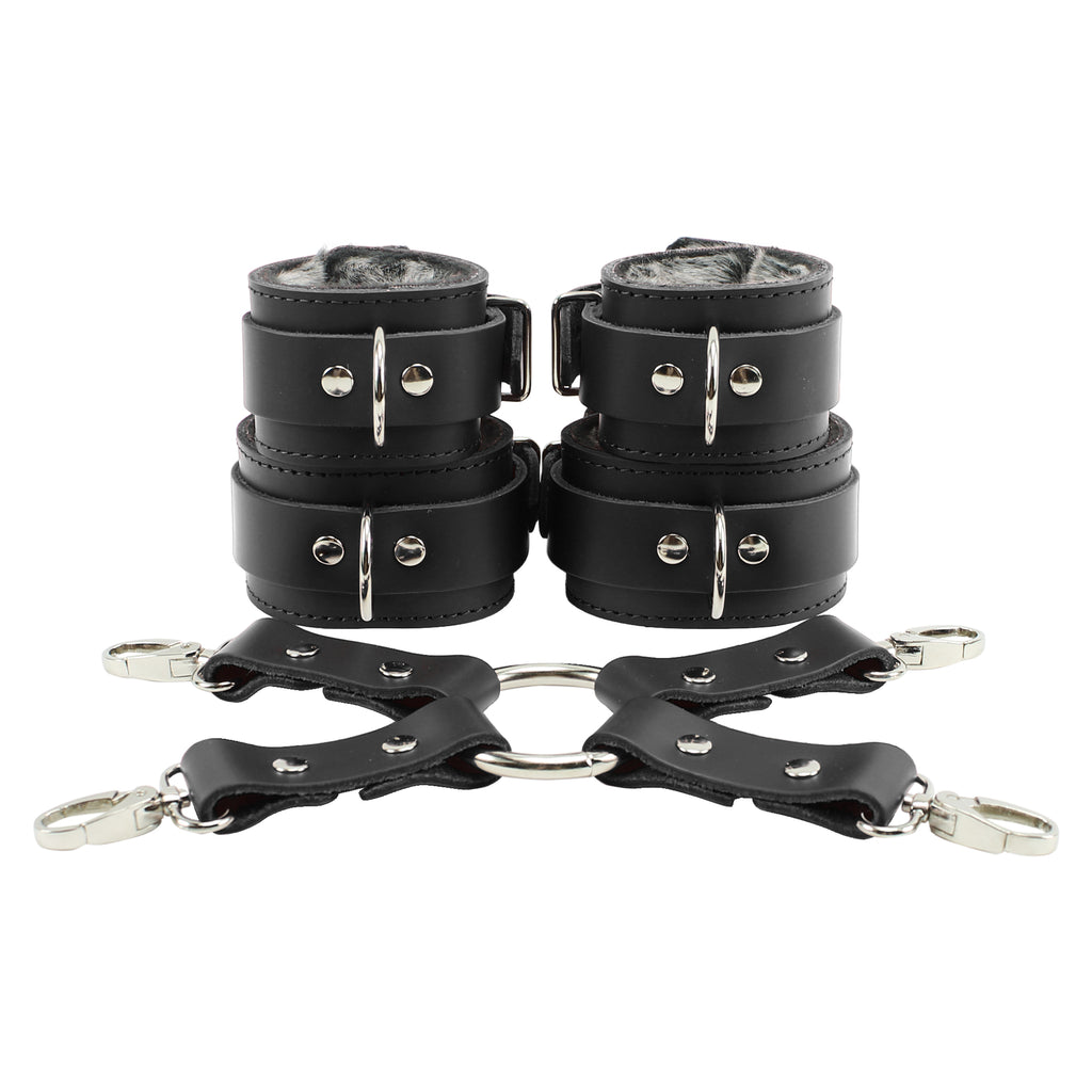 Atlas Fur Wrist and Ankle Cuffs Combo With Hogtie Sturdy Leather Restraints