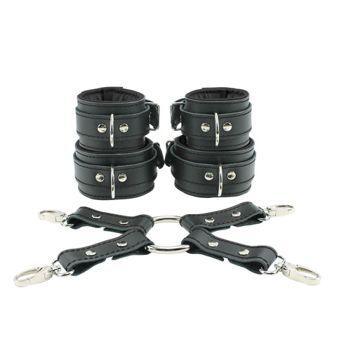 Mandrake Lockable Regular Wrist Ankle Cuffs Combo 4-Way Hogtie Soft Genuine Leather