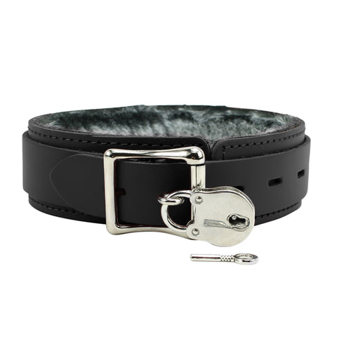 Atlas V O-ring Leather Collar with Soft Chinchilla Fur