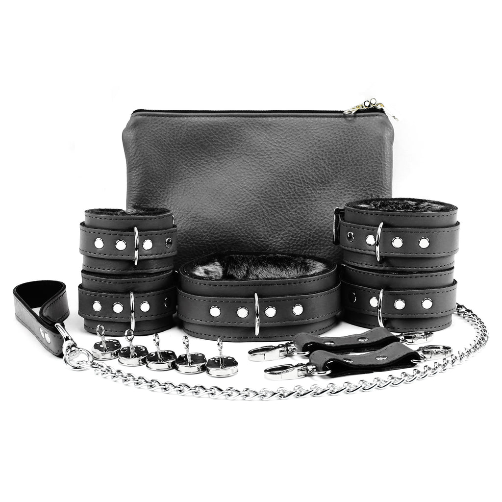 Bonn Set Full Grain Leather Lockable Collar Wrist Cuffs Ankle Cuffs Chain Leash