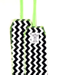 Black and White Chevron with Neon Green Stitching