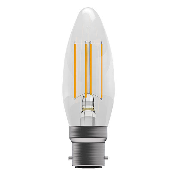 4W LED Filament Candle - BC, Clear, 2700K
