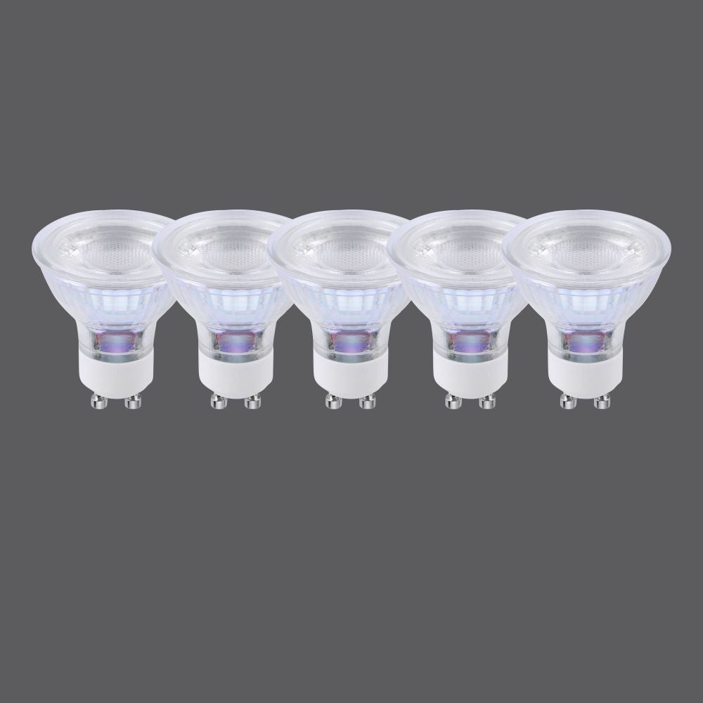 LED lamp GU10 in a set of 5 with warm white light color and 38 ° beam angle is reflective NOT DIMMABLE
