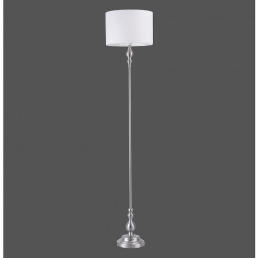 Floor lamp, steel-white, round, elegant