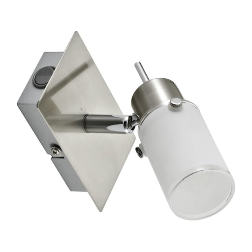 LED wall light in steel with adjustable light head and warm white light color including rocker switch