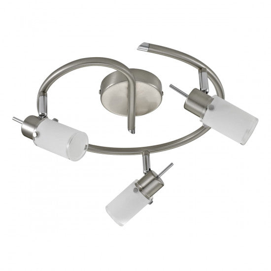 Leuchten-Direkt MAX LED ceiling light stainless steel, 3-light sources