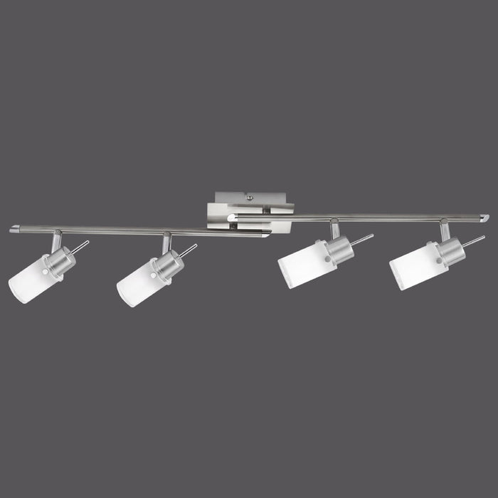 LED ceiling light in steel with 4 adjustable light heads and warm white light color shines glare-free
