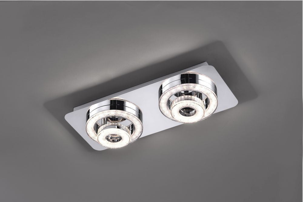LED ceiling light in chrome with 2 adjustable light rings and warm white light color