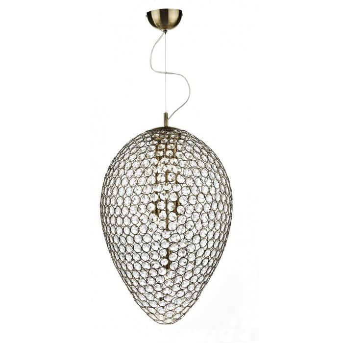 Dar Lighting Frost  Antique Brass 5 Light Pendant