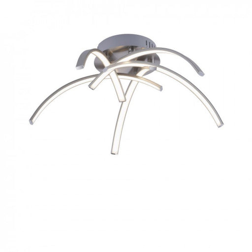 LED ceiling light in steel color with five curved light arms