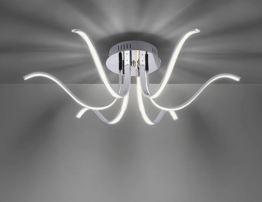 6-light LED ceiling light with permanently installed LED lamps