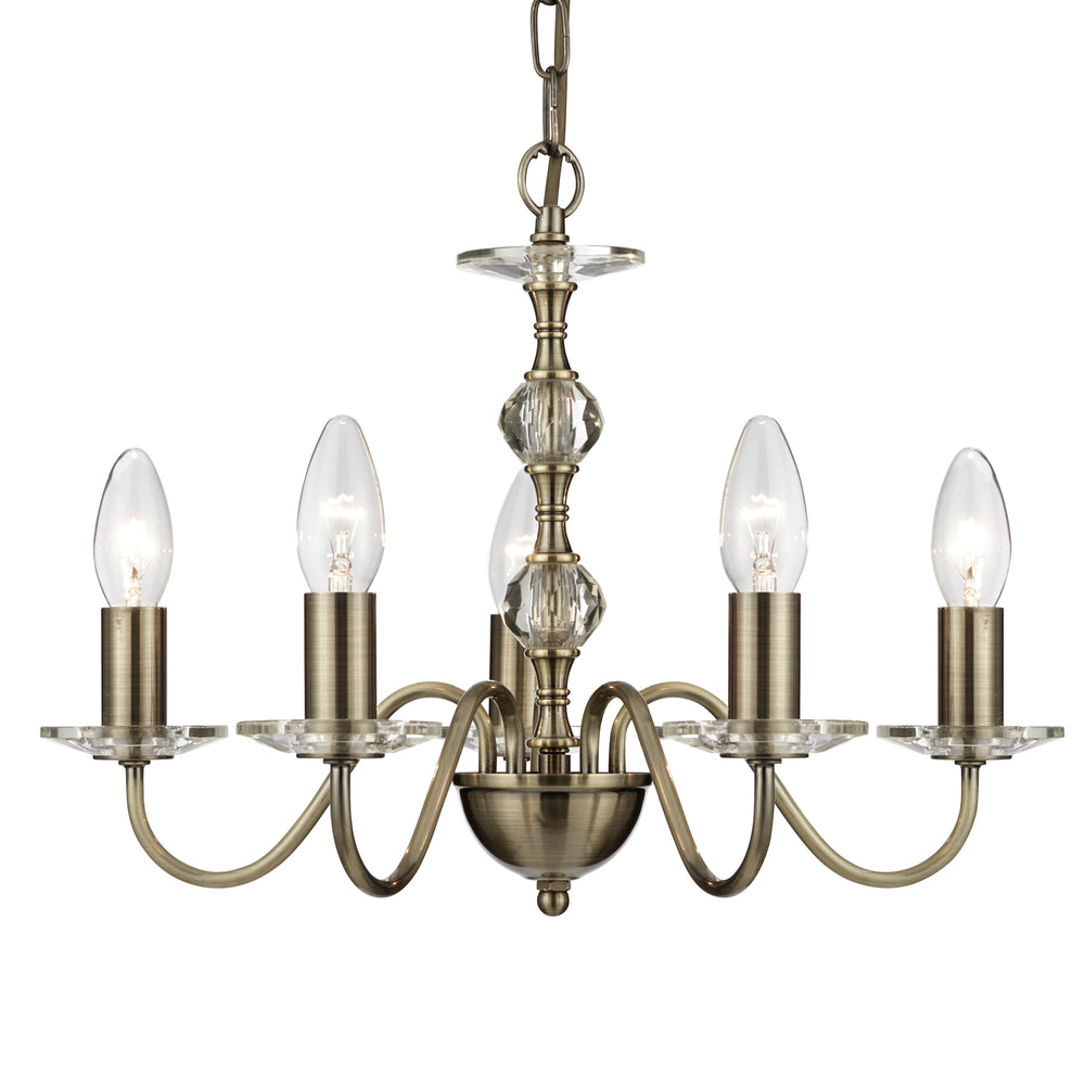 Monarch 5 Light Antique Brass Fitting With Clear Glass Sconces