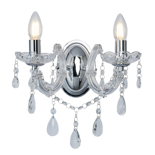 Marie Therese Chrome 2 Light Wall Bracket With Crystal Drops