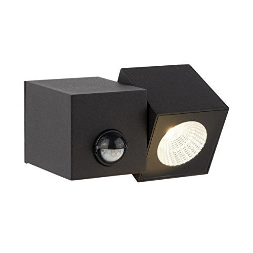 DALLAS OUTDOOR PIR 1 LIGHT BLACK CUBE LED DIE CAST ALUMINIUM WALL BRACKET