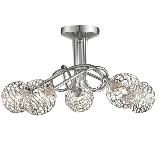 Iluka Polished Chrome & Metal Twist Shades Modern 5 Lamp Semi Flush