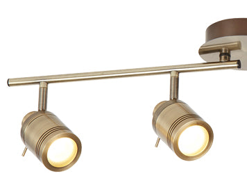 ANTIQUE BRASS, 4 LIGHT IP44 BATHROOM SPOT SPLIT-BAR, ADJUSTABLE HEADS