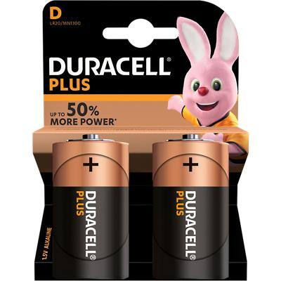 DURACELL LR20/MN1300 D Plus Batteries - Pack of 2