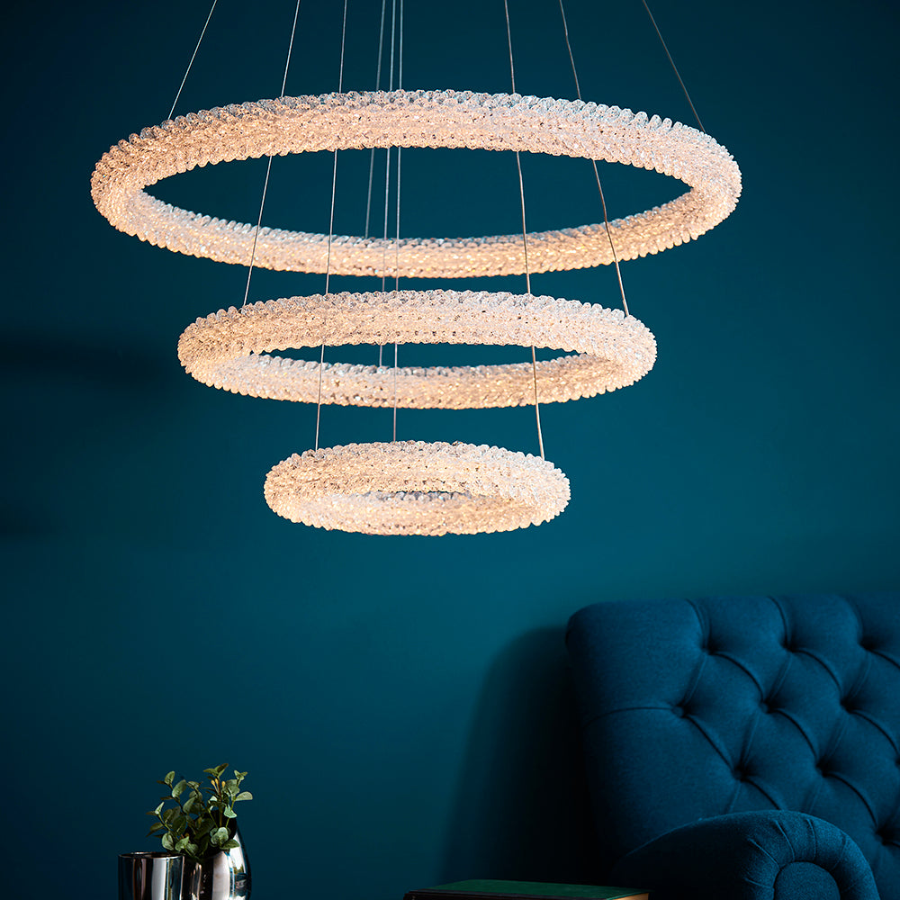Neve 90W LED 3 Ring Ceiling Pendant in Polished Chrome Finish with Faceted Crystal Detail