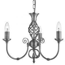 Zanzibar Satin Silver 3 Light Fitting With Ornate Twisted Column