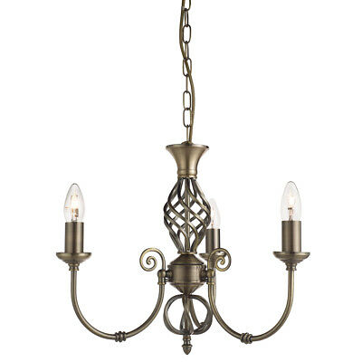 ZANZIBAR ANTIQUE BRASS 3 LIGHT FITTING, TWISTED COLUMN, ADJUSTABLE HEIGHT