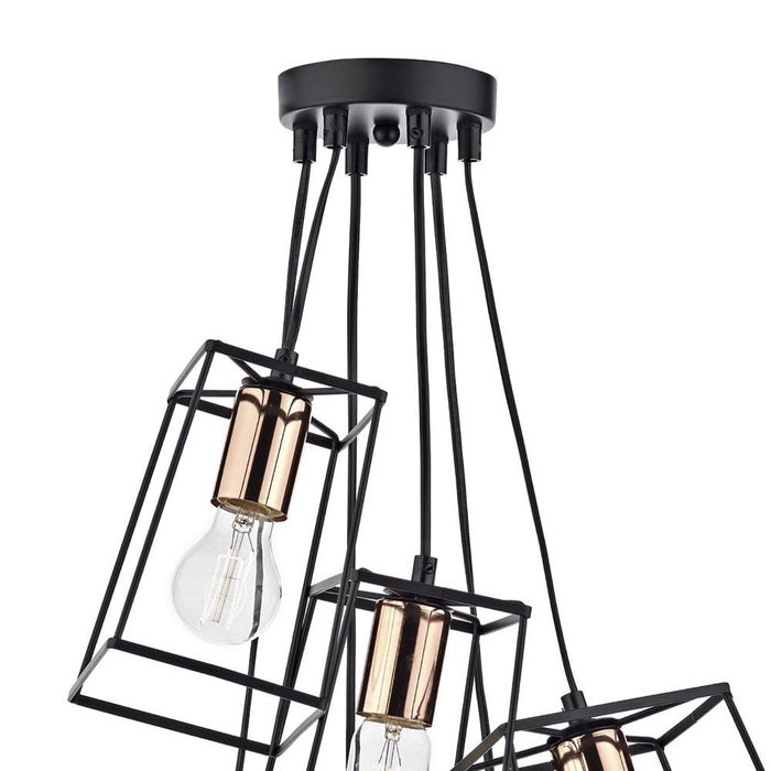 Tower 6 Light Cluster Pendant Black