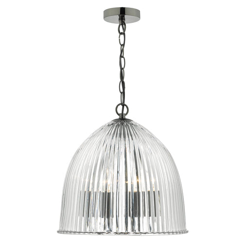 Usher 3 Light Glass Ribbed Pendant Antique Silver