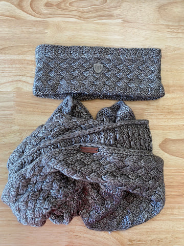 Metallic Deluxe Knit infinity Scarf and Headband Set