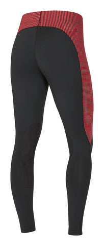 Flow Rise Knee Patch Performance Tight Poppy Houndstooth