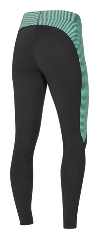 Flow Rise Knee Patch Performance Tight Spearmint Houndstooth