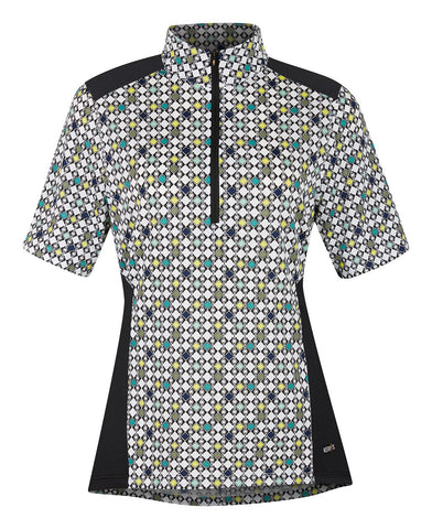 Ice Fil® Lite Short Sleeve Riding Shirt - Print Emerald Deco Bits
