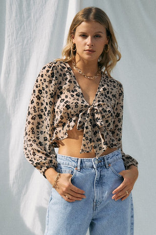 Olie Blush Leopard Top
