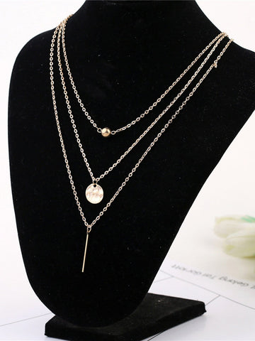 Coin Charm Faux Pearl Decor Layered Necklace