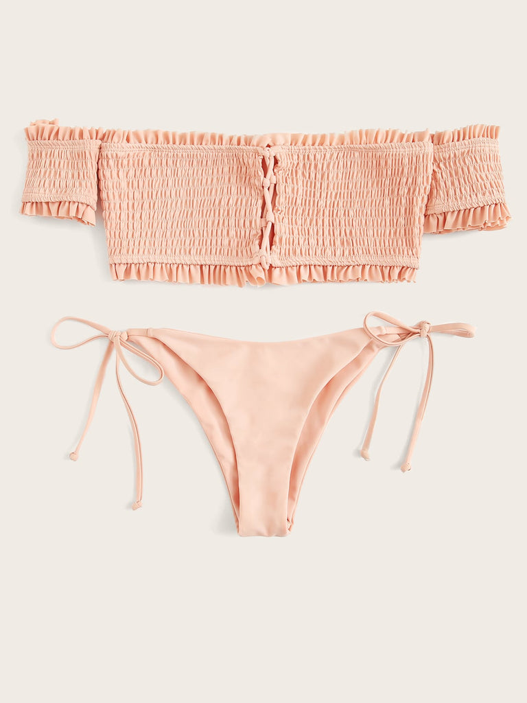 Bailey Pink Smocked Bikini Set