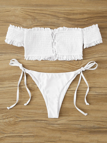 Aster White Ribbed Bikini Set