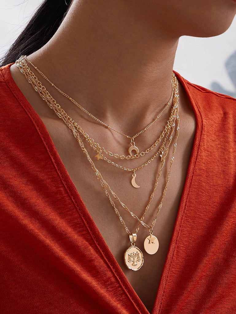 Disc & Star Charm Layered Necklace