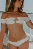 Poppy Cream Off The Shoulder Bikini Set