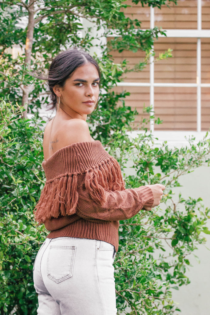 Warm And Toasty Coffee Fringe Sweater
