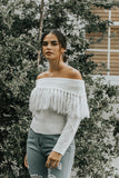 Warm And Toasty White Fringe Sweater